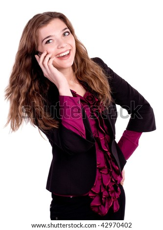 girl with telephone on white background - stock photo