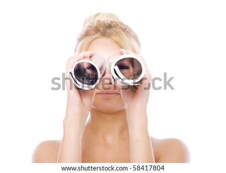 girl with telescope - stock photo