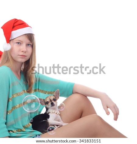 girl with the dog and soap bubbles - stock photo