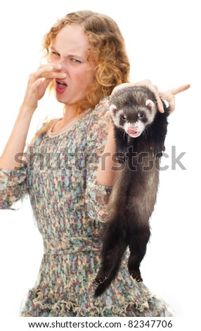girl with the ferret - stock photo