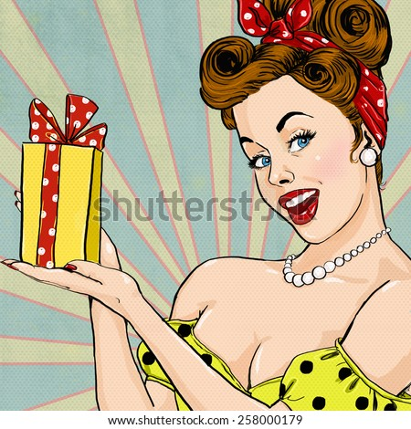 Girl with the gift in vintage style. Pin up girl. Party invitation. Birthday greeting card.Pop Art illustration of woman with the gift.Pop Art girl. Pop Art girl.Vintage advertising poster.  - stock photo