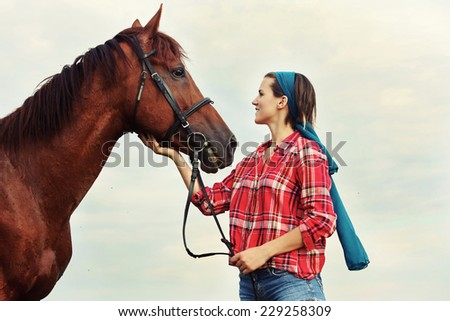 Girl with the horse, Portrait of young woman with her horse