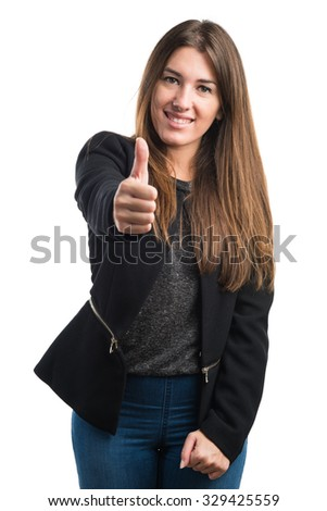 Girl with thumb up - stock photo