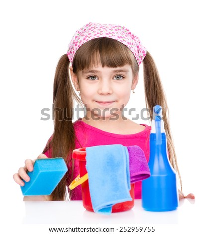 Girl with tools for house cleaning. isolated on white background - stock photo