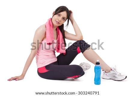 girl with towel and water - stock photo