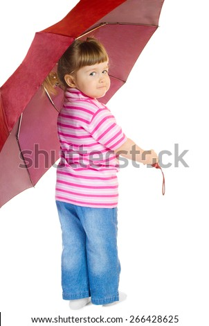 Girl with umbrella - stock photo