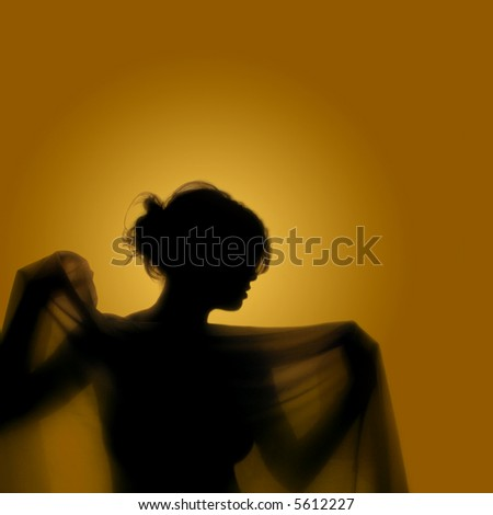 Girl with veil - A girl´s silhouette in  yellow background