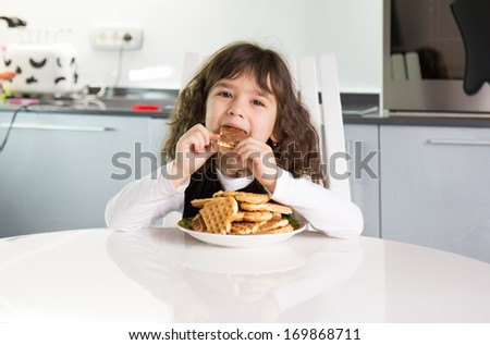 Girl with waffles