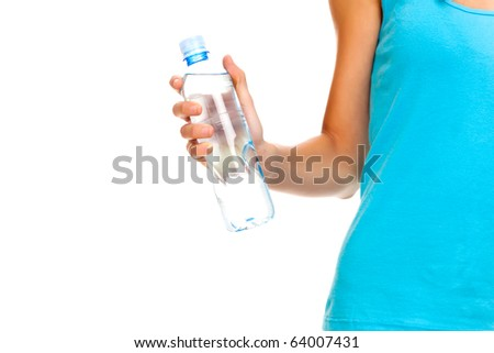 Girl with water bottle - stock photo