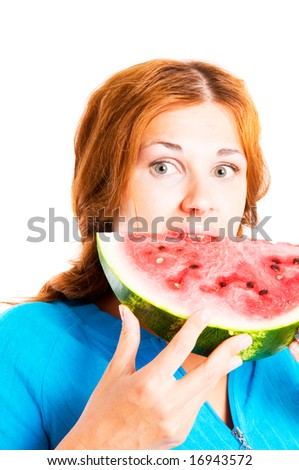 girl with  water-melon. Isolation on the white
