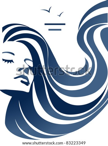 Girl with wavy hair JPG - stock photo