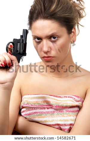 girl with weapon (pistol) isolated on white