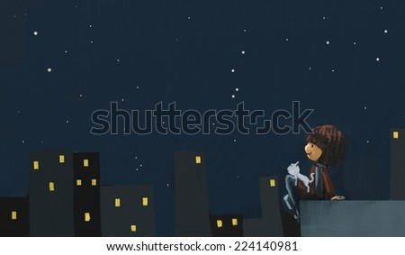 Girl with white cat in the night city illustration, Digital painting, Acrylic on canvas style - stock photo