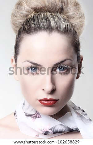 Girl with white eyelashes - stock photo