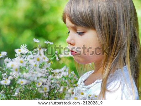 Girl with white wild flowers