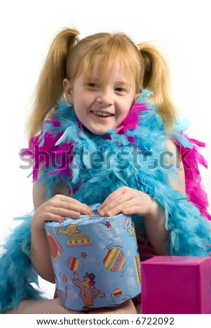 Girl with wrapped birthday presents