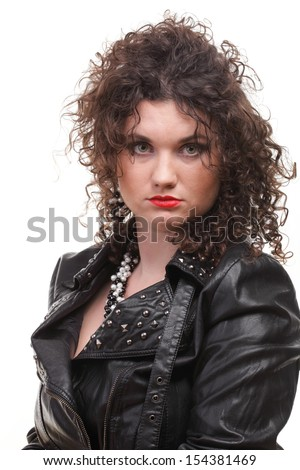 Girl - woman dark hair natural brown-haired white background