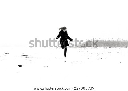 girl, woman , dream, escape, to smile , to hope , to wait , to trust , faith , laughter , hair, hands, eyes , smile, teeth , horizon, dress, coat , shirt, snow, winter, tree , run, away , nose, teeth - stock photo