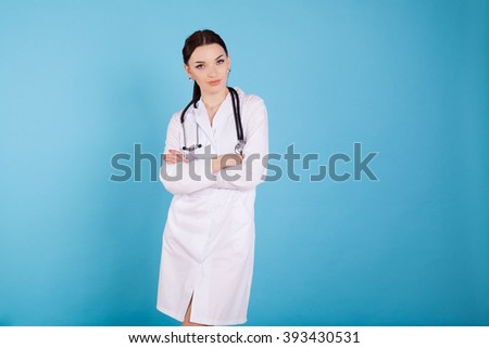 girl woman female doctor with stethoscope hospital - stock photo