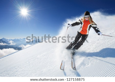 Girl / Woman / Female On the Ski - stock photo