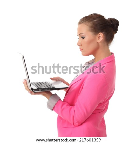 girl working on laptop - stock photo