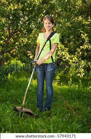 Woman Mowing Lawn Stock Images Royalty Free Images