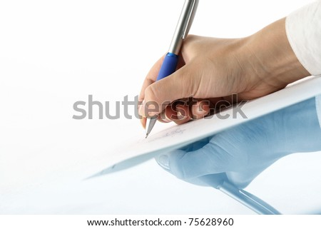 girl write on white paper - stock photo