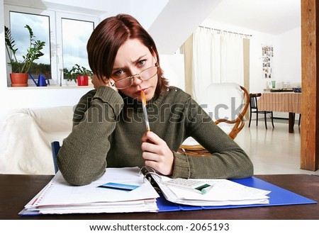 girl, young woman having financial problems - stock photo