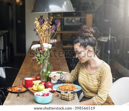 Girlfriend Eating Spaghetti Healthy Concept