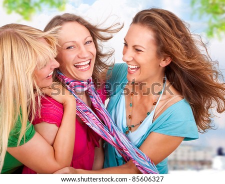 girlfriends having fun in the city - stock photo