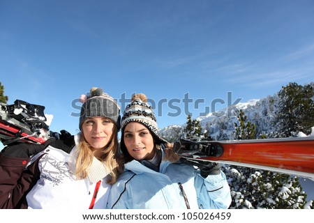 Girlfriends on a ski trip - stock photo