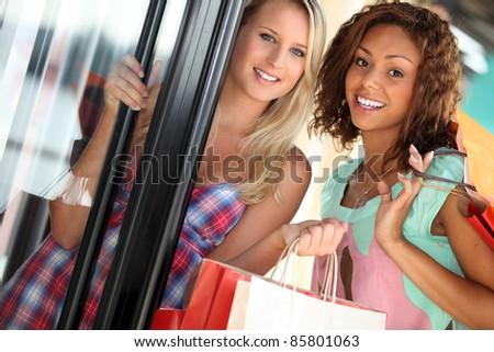 Girlfriends shopping - stock photo