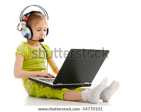 girlie in headphones with laptop isolated on white background - stock photo
