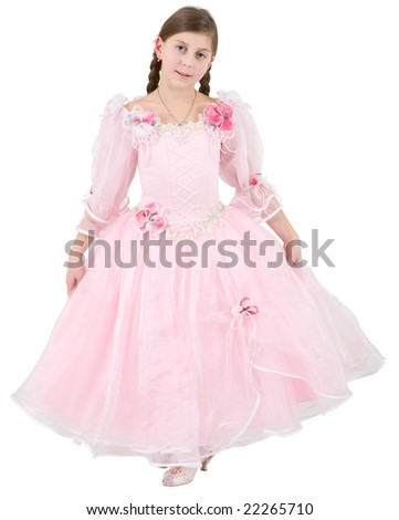 Girlie in pink clothes on a white background