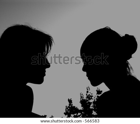 Girls Almost Kissing (Silhouettes)