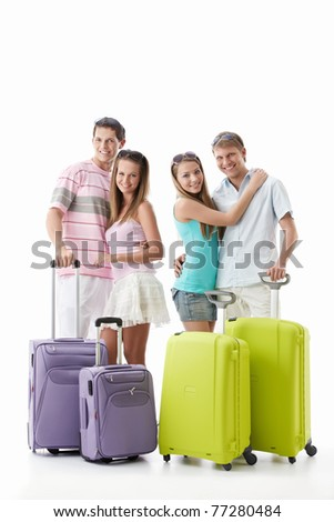 Girls and men with suitcases on a white background - stock photo