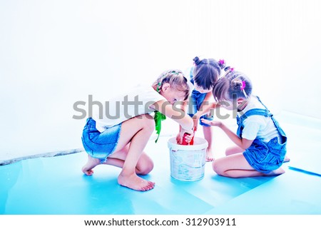 girls and paint - stock photo