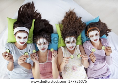 Girls at a Sleepover   - stock photo