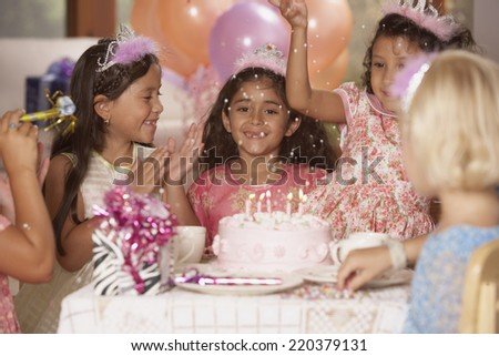 Girls at birthday party - stock photo