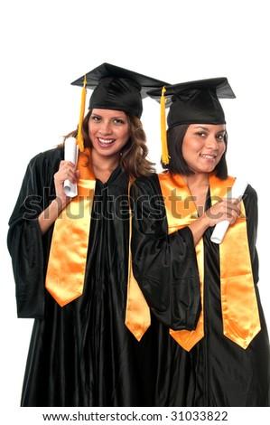 Girls celebrating their graduation very happy. - stock photo