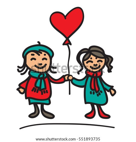 Girls couple with balloon isolated on white background. Valentine's Day illustration. Hand drawn style. Design elements for greeting card or flyer.