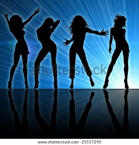 Girls dancing at a night club - stock photo