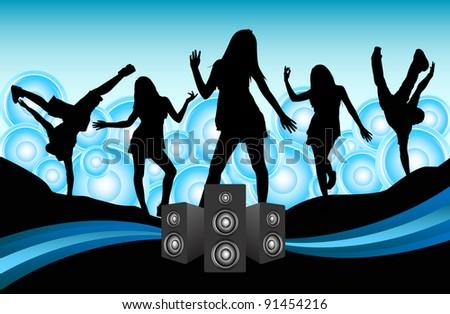Girls Dancing / Party Girls - stock photo