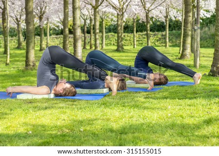 Girls doing Halasana, the plow pose in yoga, in a spring park  - stock photo