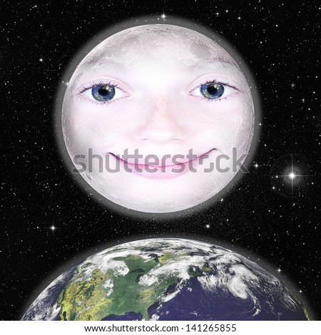 Girls face in the shape of a full moon, photograph with star background and above the earth: parts of this image furnished by NASA - stock photo