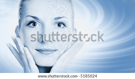 Girls face with half healthy and half itchy, dry skin - stock photo