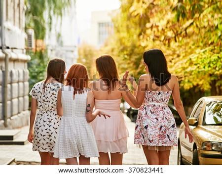 girls Friends walk - stock photo