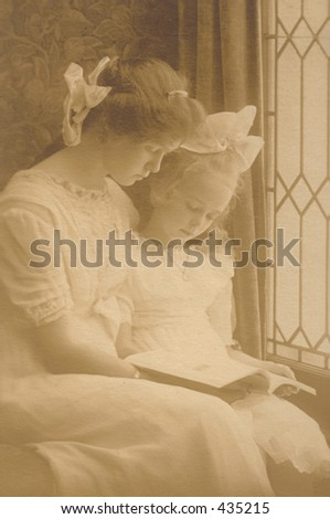 Girls from 1800's with book