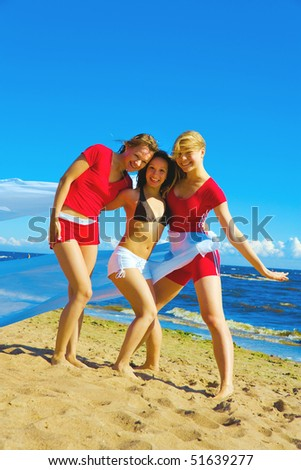 Girls funny exercise - stock photo