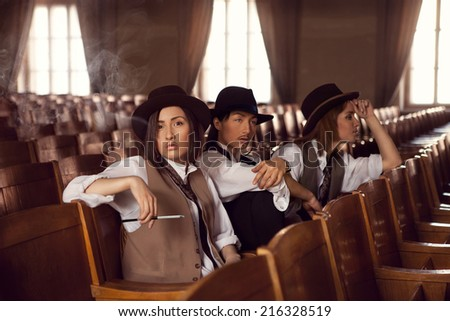 girls gangsters gathered in theater on rehearsal - stock photo